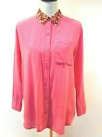 Equipment Womens Pink Floral Collar Long Sleeve Button Up Top Size Small