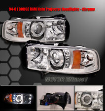 94-01 DODGE RAM HALO LED PROJECTOR HEADLIGHTS LAMP CHROME PICKUP TRUCK ANGEL EYE