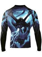 Raven Fightwear Men's Storm Dragon Rash Guard MMA BJJ Black