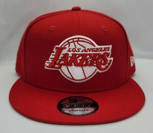 NEW ERA 9FIFTY SNAPBACK HAT.   NBA.   LOS ANGELES LAKERS.   RED.