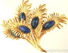 "3"" Lapis Blue Gold Tone Flower Brooch"