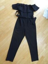 MISS SELFRIDGE ladies black off the shoulder slim leg jumpsuit all in one UK 10