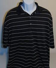 Nike Golf Black Striped Short Sleeve Dri Fit Polo Shirt Mens XL