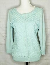 Talbots Mint Green Cardigan Sweater Large Chevron Ruffles Women's Lightweight