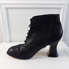 Dark Grey / Black Leather Flared Heel Steampunk Goth Lace up Ankle Boots Sz 8 43