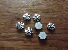 Silver tone flat flower spacer beads approx 11mm x 60