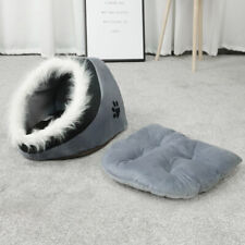 Grey & Black Warm Fleece Igloo Pet Bed with Fur Trim For Dog/Puppy/Cat/Kitten