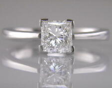 Diamond Engagement Ring 1.00ct Certified H VS2 Princess Cut in 18ct White Gold