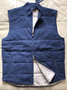 Size M 38 UK Hackett London Cotton Cashmere Gilet, Body Warmer Vest Denim Blue