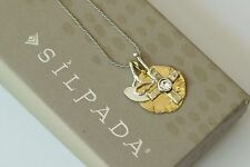 "Silpada NIB ""Cross and Dove"" Swarovski Brass Sterling Silver Necklace N3401 NEW"