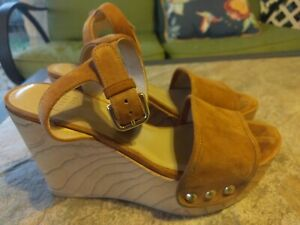 Stuart Weitzman Suede Platform Wedge Sandals Golden Studs  Brown Size 6