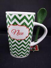 Christmas Holiday Coffee Hot Coco Mug Tea Cup Spoon Cheveron Style Says: Nice #8