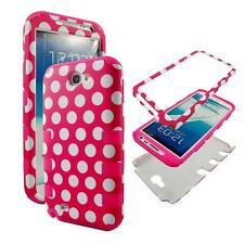 For Samsung Galaxy Note 2 II  N7100 Pnk Polkadot Case Cover Hybrid Rubber ShockP