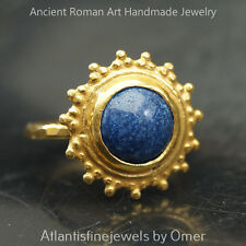 Omer Handmade Turkish Lapis Ring Sterling Silver Sun Collection 24k Gold Plated