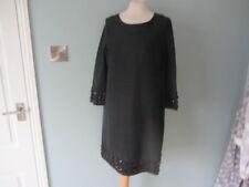 WHISTLES BLACK COTTON/SILK BLEND EMBELLISHED TUNIC DRESS SIZE UK 12 US 8 EU 40 S