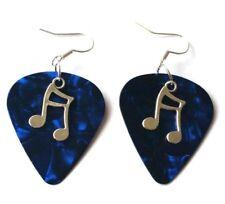 New Blue Guitar Pick Music Pendant Earrings Jewellery Costume Glam Rock