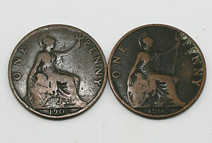 1902 Low Tide (LT) Penny Edward VII Coins - 2 Coins in total (MZ8)