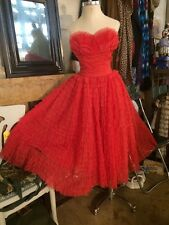 Vintage 50S 1950's Red Chiffon Strapless Prom Cocktail Party Dress