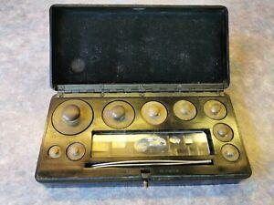 Vintage Apothecary Chemist brass weights set Griffin and Tatlock /Bakelite Case