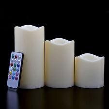 "3Pcs Color Change Remote Control Candles Flameless LED Light Ivory Set 4"" 5"" 6"""