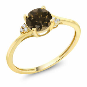 Natural Smoky Quartz And Diamond Accent Engagement Ring 10K Yellow Gold