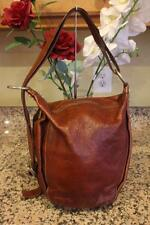 Marino Orlandi Brown Pebbled Leather Side Zip Hobo Shoulder Bag (u300