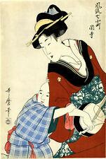 "Lovely Utamaro Woodblock Print: ""Mother And Child With Shamisen�"