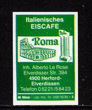 """402060/legno di accensione etichetta-italiano eiscafe """"ROMA"""" - 4900 Hereford-elverdisse"""
