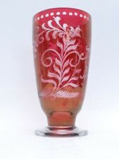 Stunning Antique  Bohemian Ruby Flashed Cut To Clear Glass Tumber / Vase Egerman