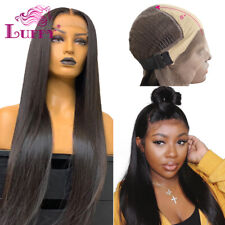 Fake Scalp Wig 13*6 Lace Front Human Hair Wig Straight PrePlucked Bleached Knots