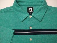 Footjoy Mens Golf Polo Shirt XL ProDry Lisle Green Striped Casual Sport