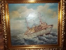 ,Schiff im Sturm´ Antik Ölgemälde F.Wagner 70x60 cm Unikat Öl auf Leinwand