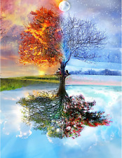 Wishing Tree Painting 5D Diamond Cross Stitch Embroidery Craft Kit Home Decor US