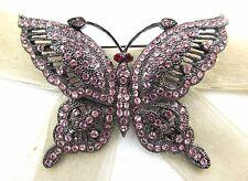 Gunmetal Butterfly Swarovski Element Austrian Crystal Rhinestone Brooch Pin