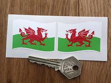 "Welsh Dragon Flag Wavy STICKERS 2"" Pair Wales St Davids UK Cymru Car Bike Travel"