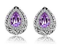 Great 9K White Gold Filled Amethyst Purple CZ Artisan Style Post Stud Earrings