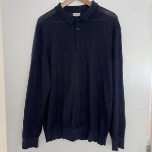 Linea Merino Wool Navy Long Sleeve Polo XL