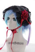 Lh-04-1 negro Maid rosas pelo banda cabeza joyas Gothic Lolita Headband cosplay