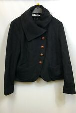 Max Mara Ladies Coat Short Cropped Wool Blend Black Pockets Size 14-16