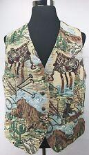 Vintage Karen Scott II Vest Tapestry Western Saddles Desert Multi Color Size 2X