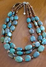 Barse Genuine Turquoise & Sterling Silver 3 Strand Necklace