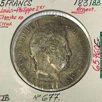 5 FRANCS LOUIS-PHILIPPE Ier - 1831BB - Pièce de Monnaie en Argent // TB
