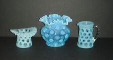 3 Piece Lot Fenton Blue Opalescent COIN DOT Ruffled Bowl Vase Hat & Pitcher