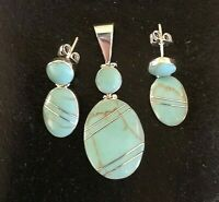 Small Taxco Mexico Blue  925 Sterling Silver Inlay earring and Pendant Sets