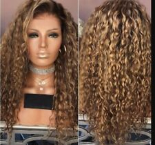 Long Synthetic Afro Kinky Curly Wig Brown Ombre Weave Hair Wigs For Black Women
