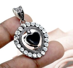 925 Sterling Silver Black Spinel Gemstone Handmade Jewelry Pendant Size-1.50''