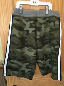 New Carter's Boy Camo Pull-On French Terry Shorts Green Blue Stripe many sizes