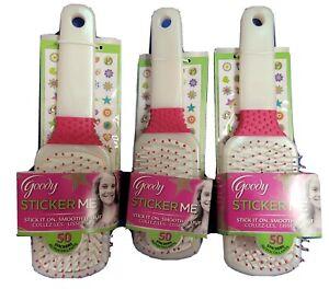 3x Goody Sticker Me Paddle Hairbrush -50 Stickers Pink White