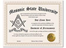 Masonic State University Freemason Personalized Diploma w/Gold Seal Novelty Gift