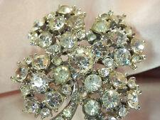 Beautiful Vintage 40's Lucky 4 Leaf Clover Deco Brooch 100AG5